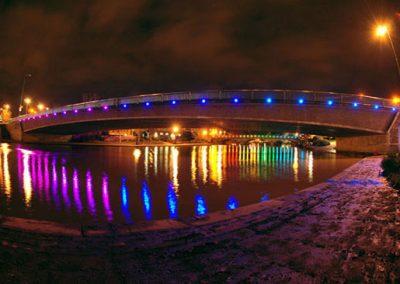 Bridges lighted up by LED pixel string light