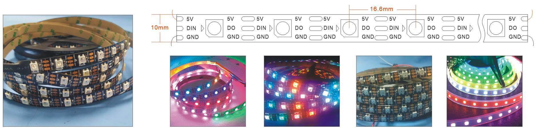 WS2812B 60 LED per meter Strip