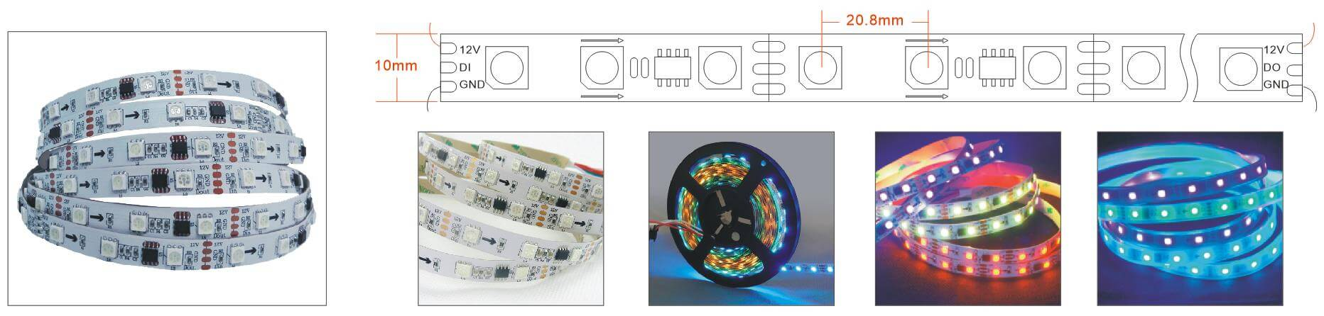 ws2811 addressable led strip 16L 48LED