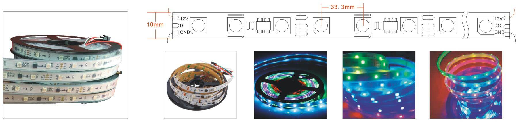ws2811 programmable led strip 10L 30LEDs per meter diagram