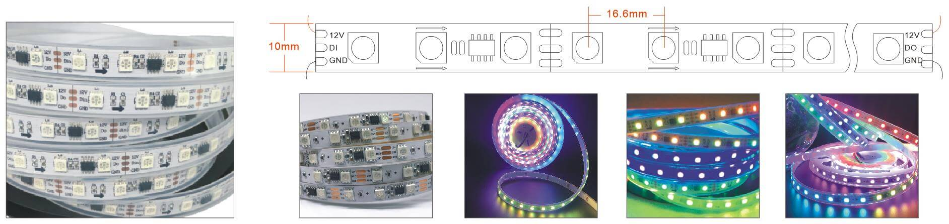 ws2811 rgb led strip 20L 60LEDs wiring