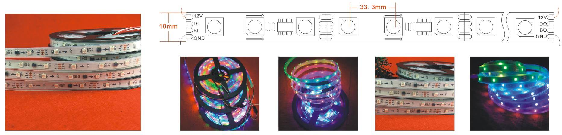 ws2818 programmable led strip 30LED meter