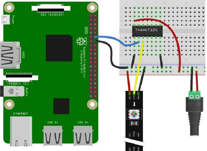 Raspberry PI 74AHCT125 WS2812 wiring diagram