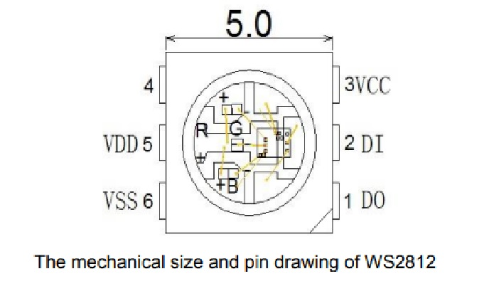 mechanical size and pin drawing of WS2812
