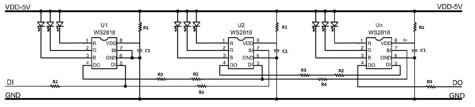 dc 5v ws2818 wiring diagram