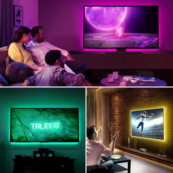 Sticking Smart Tape light to TV