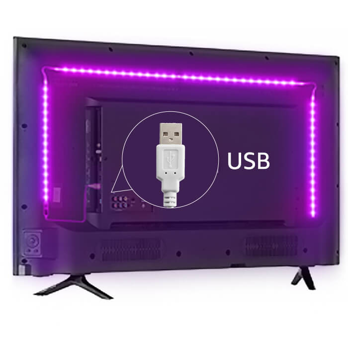 Power LED tape strip lights with USB